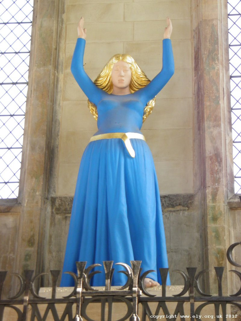 The statue of Virgin Mary in Ely Cathedral by David Wynne