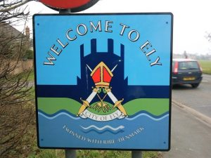 Road sign as you enter ely